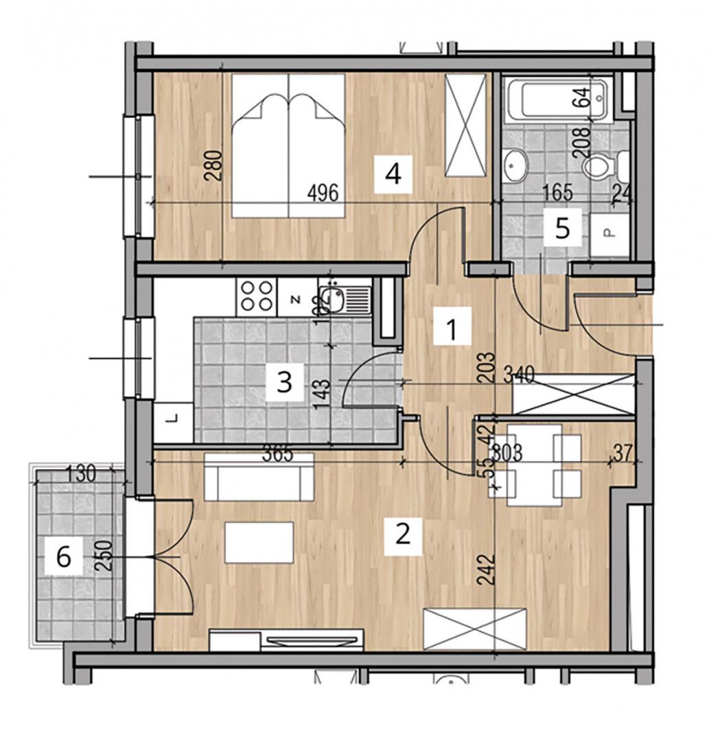 Uroczysko I / budynek 2 / klatka D / mieszkanie D/4/M2 rzut 1