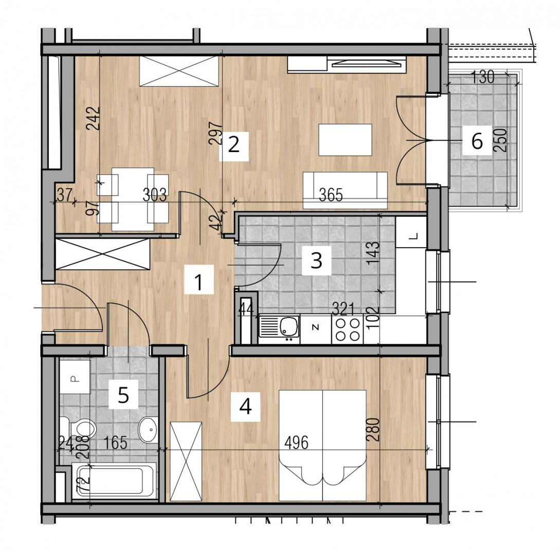 Uroczysko I / budynek 2 / klatka D / mieszkanie D/9/M2 rzut 1