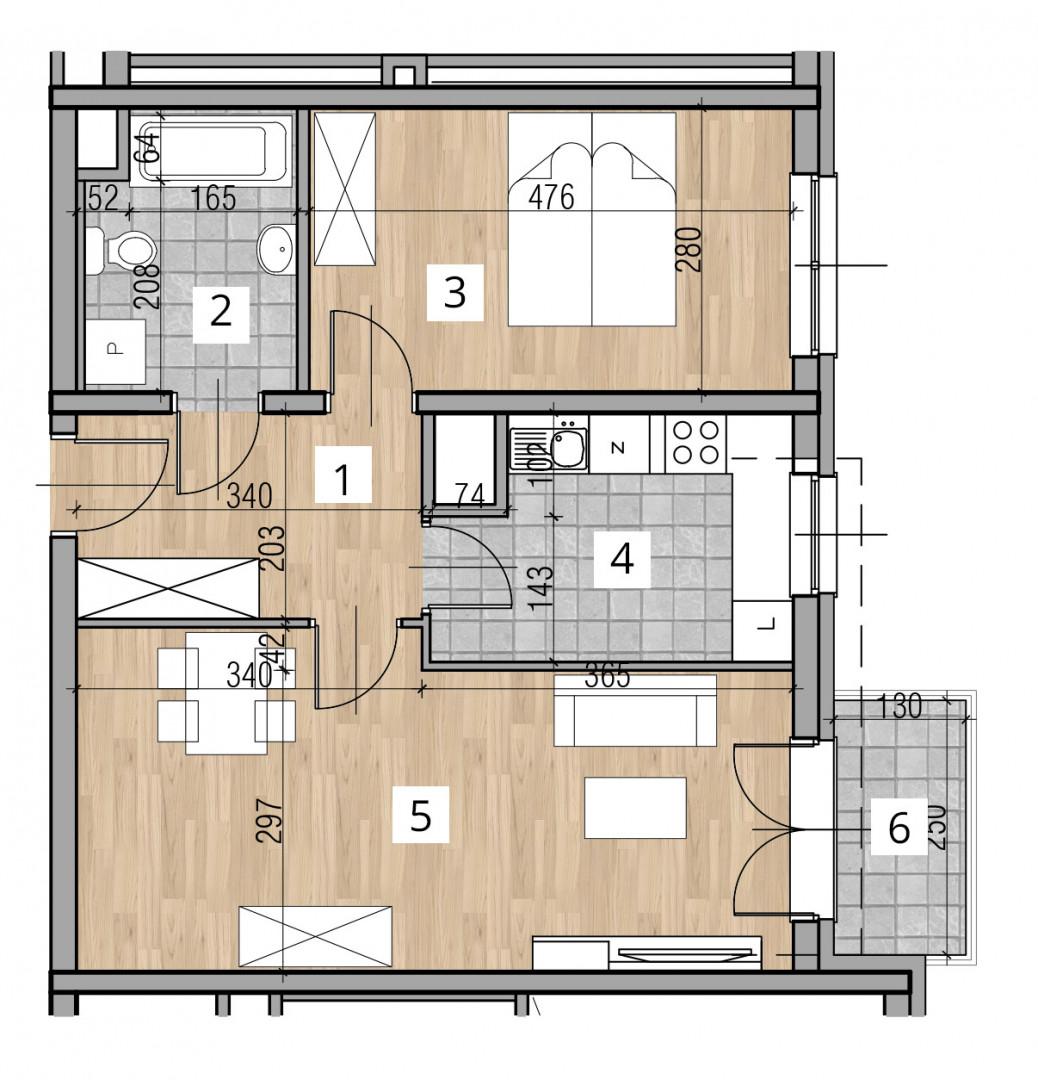 Uroczysko I / budynek 2 / klatka D / mieszkanie D/19/M2 rzut 1