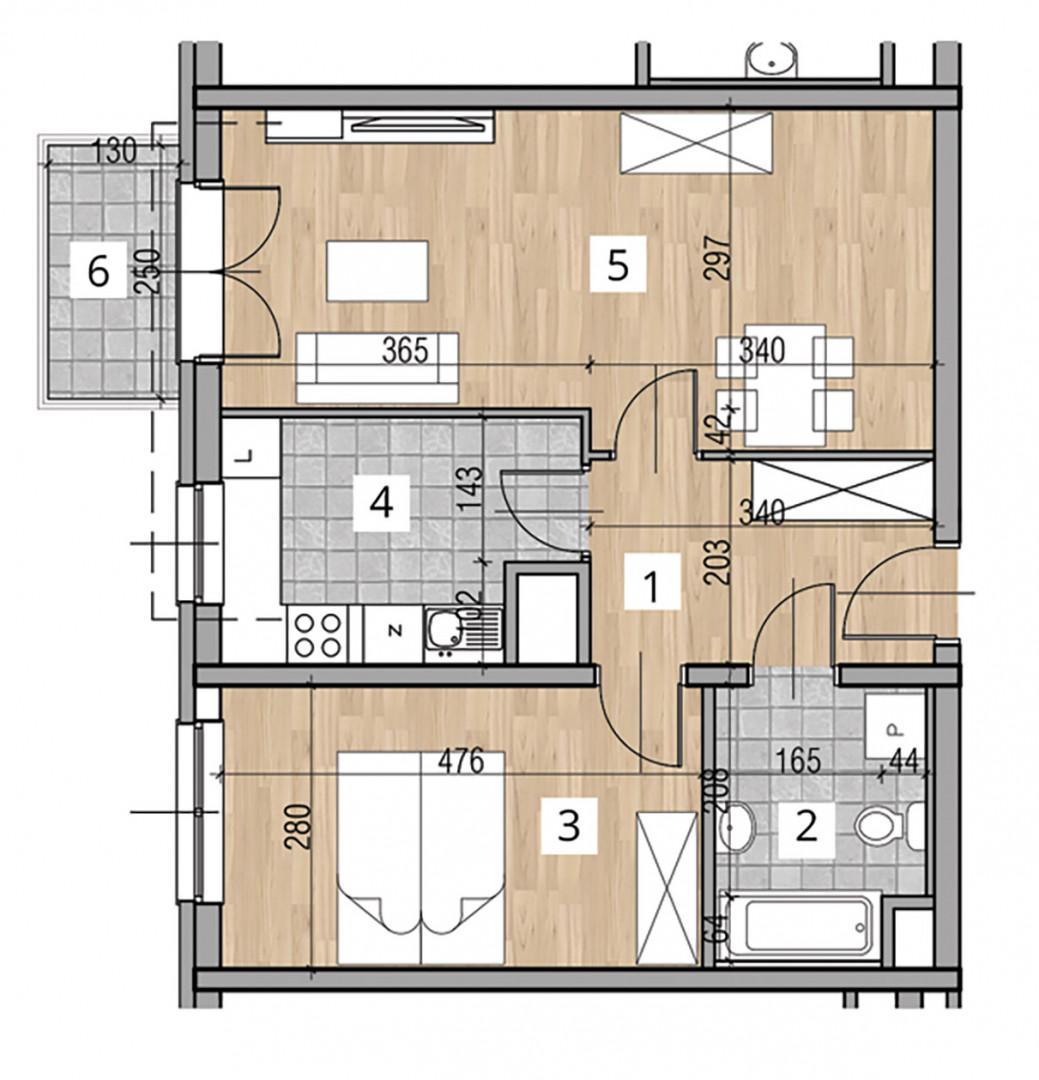 Uroczysko I / budynek 2 / klatka D / mieszkanie D/24/M2 rzut 1