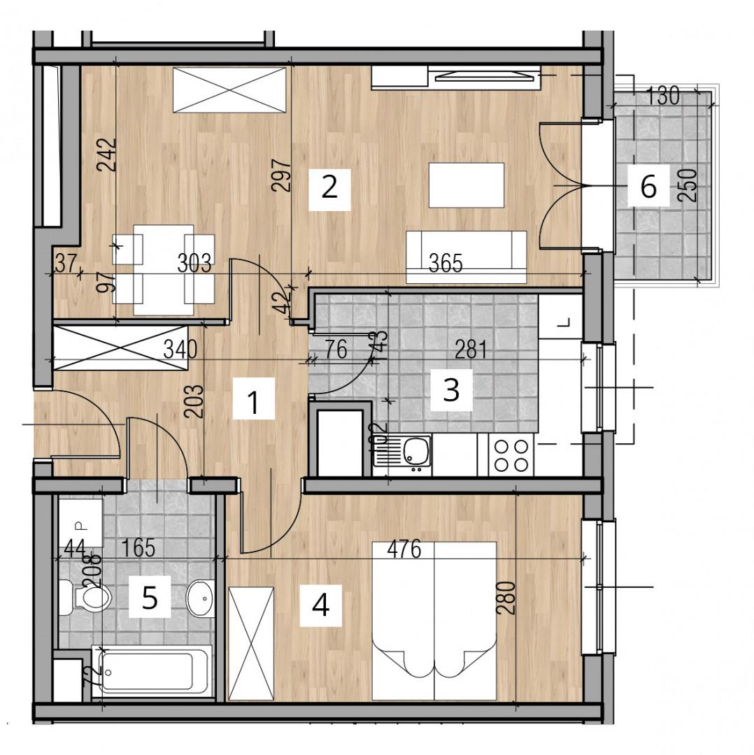 Uroczysko I / budynek 2 / klatka D / mieszkanie D/27/M2 rzut 1