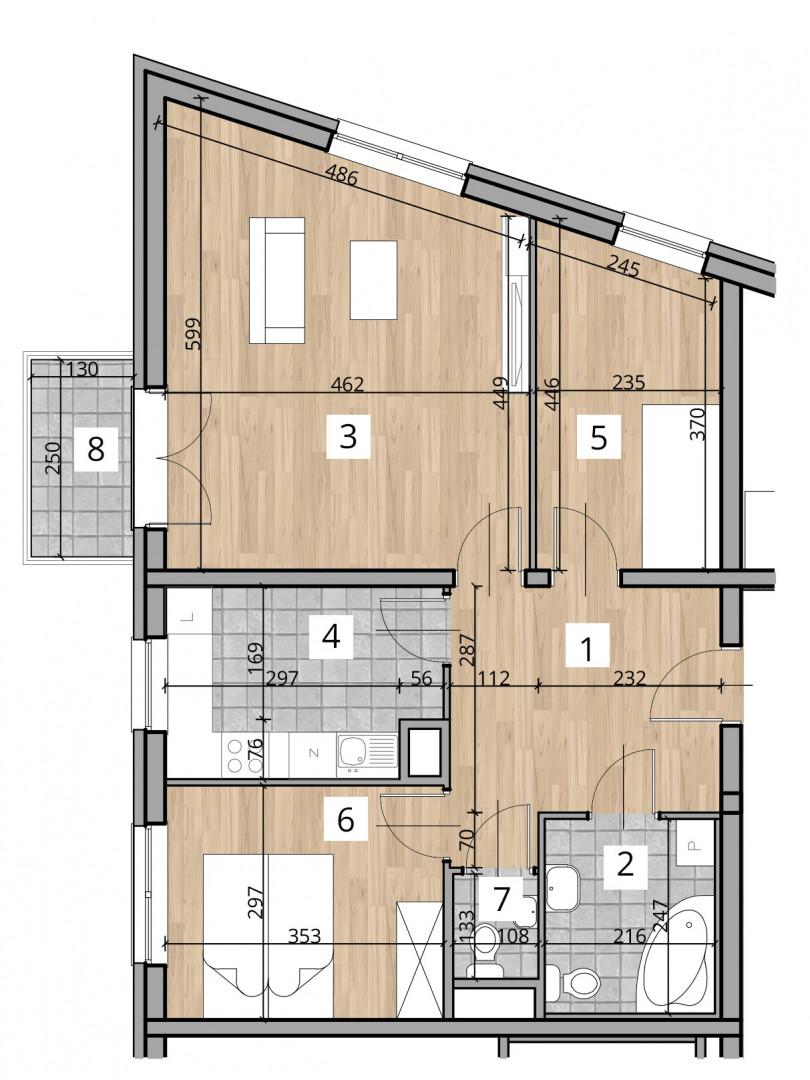 Uroczysko I / budynek 1 / klatka A / mieszkanie A/16/M3 rzut 1