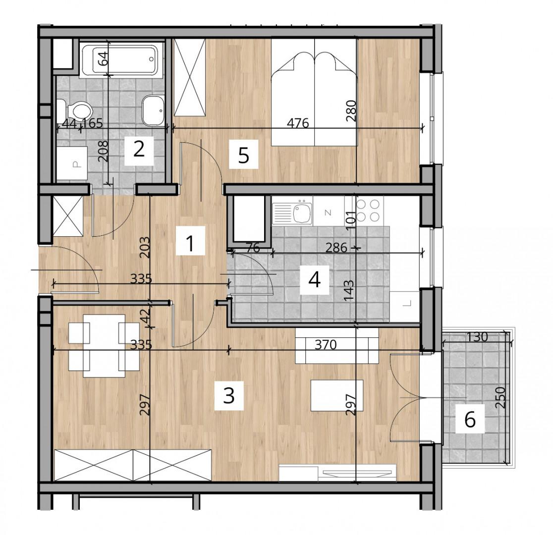 Uroczysko I / budynek 1 / klatka A / mieszkanie A/19/M2 rzut 1