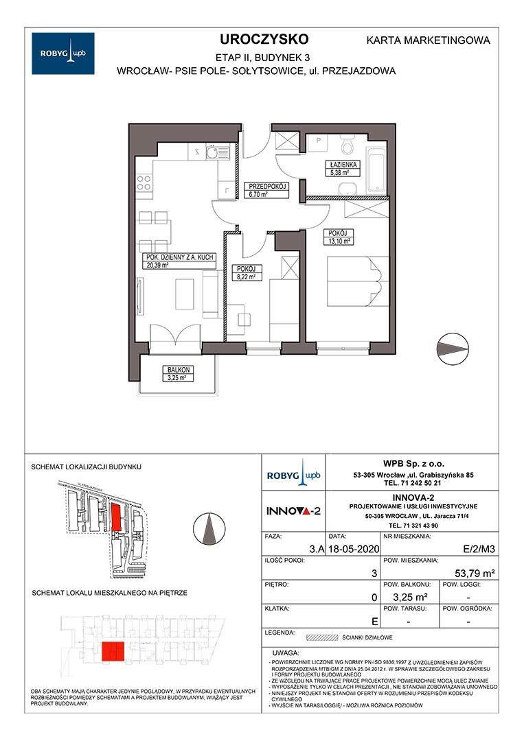 Uroczysko II / budynek 3 / klatka E / mieszkanie E/2/M3 rzut 1