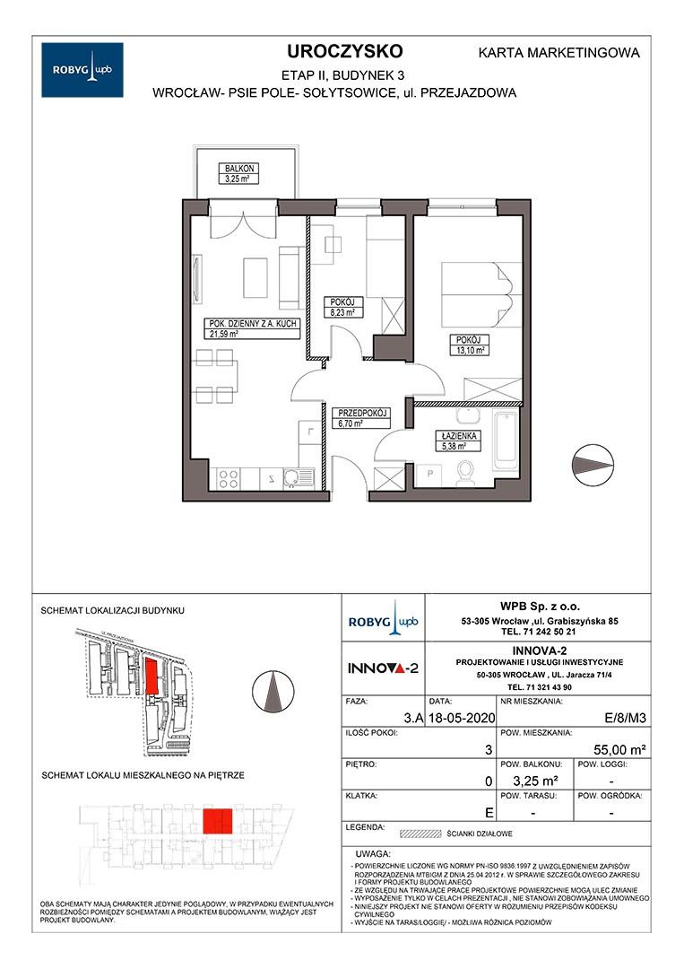 Uroczysko II / budynek 3 / klatka E / mieszkanie E/8/M3 rzut 1