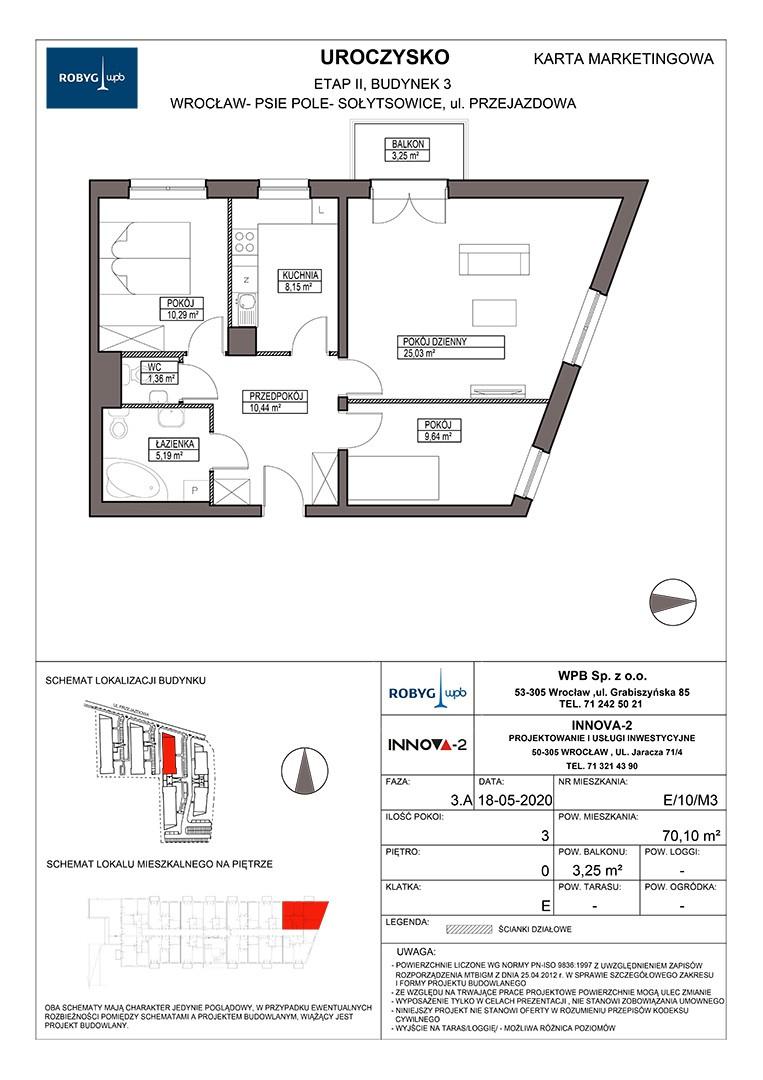 Uroczysko II / budynek 3 / klatka E / mieszkanie E/10/M3 rzut 1