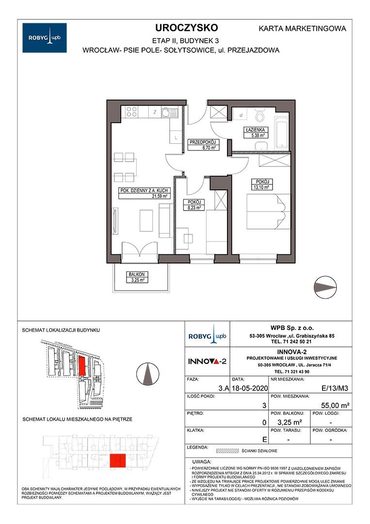 Uroczysko II / budynek 3 / klatka E / mieszkanie E/13/M3 rzut 1