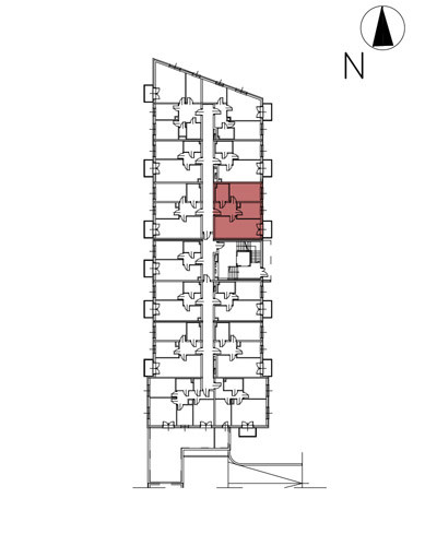 Uroczysko II / budynek 3 / klatka E / mieszkanie E/13/M3 rzut 2