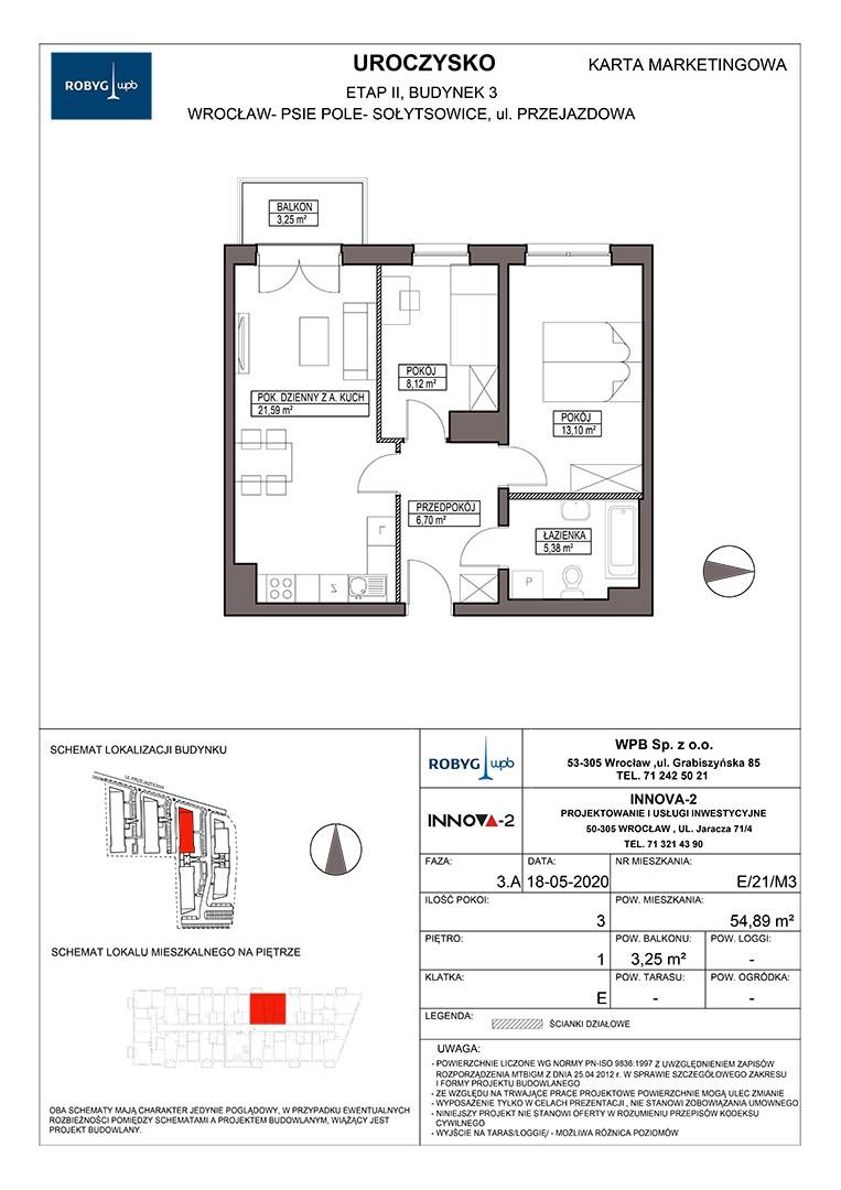 Uroczysko II / budynek 3 / klatka E / mieszkanie E/21/M3 rzut 1
