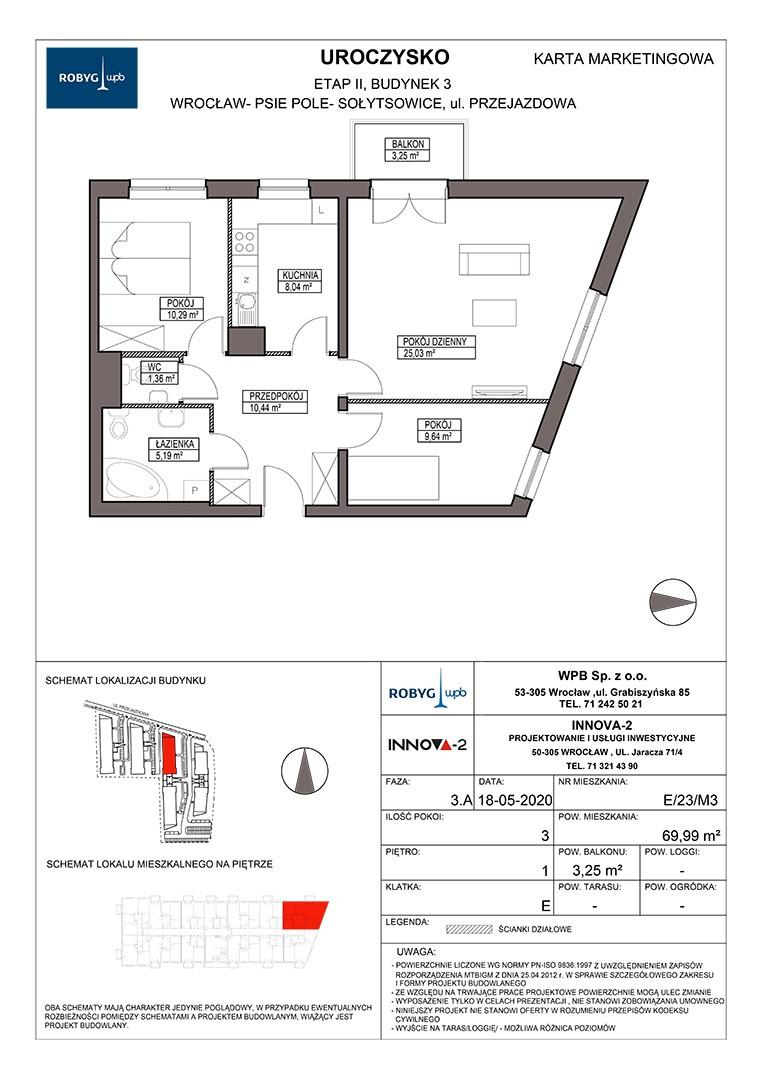 Uroczysko II / budynek 3 / klatka E / mieszkanie E/23/M3 rzut 1