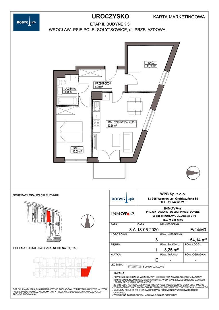 Uroczysko II / budynek 3 / klatka E / mieszkanie E/24/M3 rzut 1