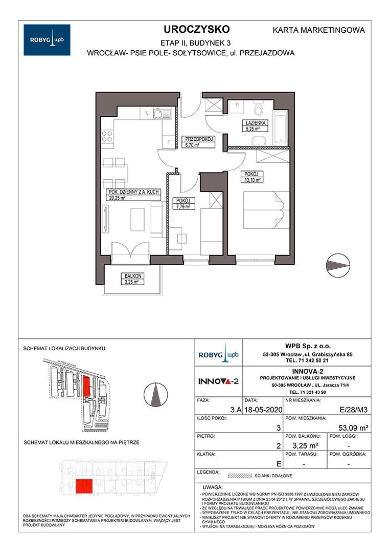 Uroczysko II / budynek 3 / klatka E / mieszkanie E/28/M3 rzut 1