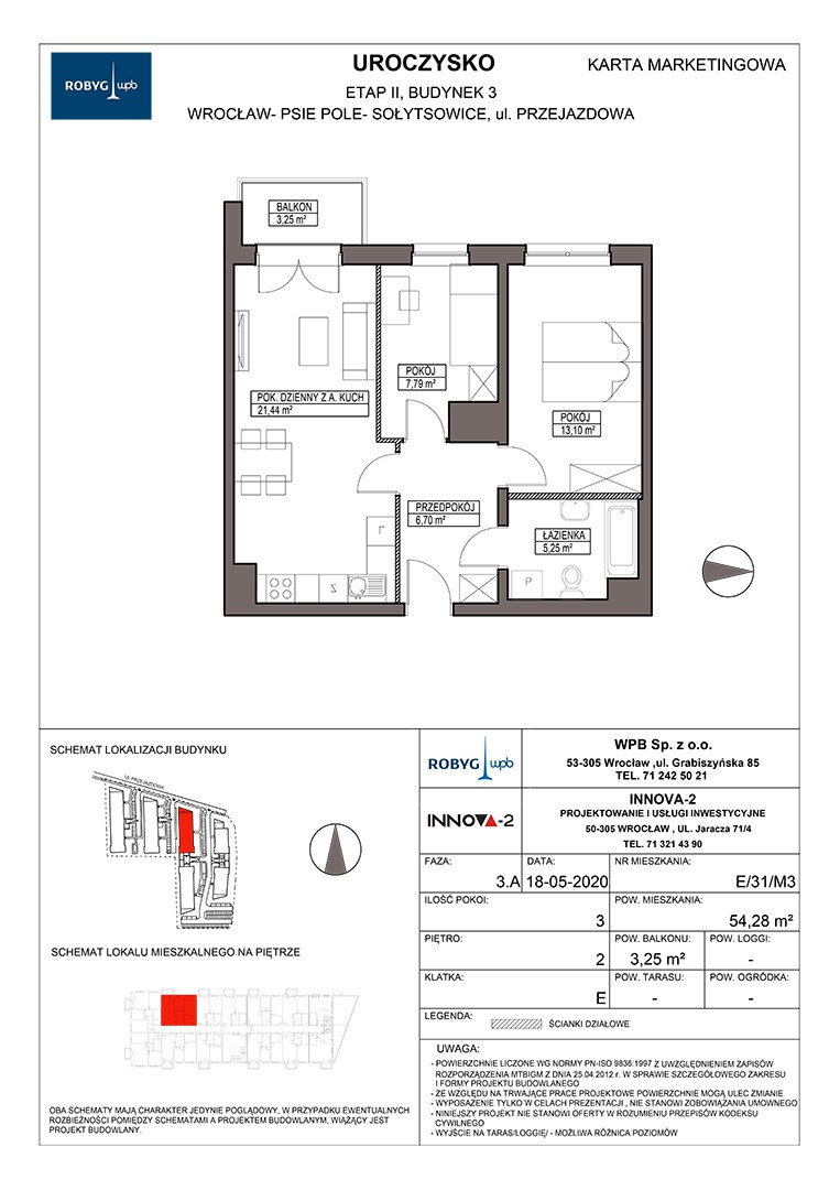 Uroczysko II / budynek 3 / klatka E / mieszkanie E/31/M3 rzut 1