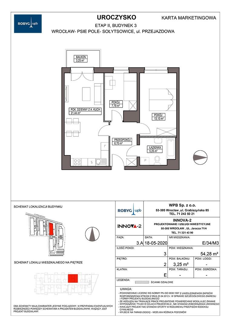 Uroczysko II / budynek 3 / klatka E / mieszkanie E/34/M3 rzut 1