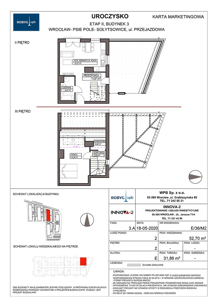Uroczysko II / budynek 3 / klatka E / mieszkanie E/36/M3 rzut 1