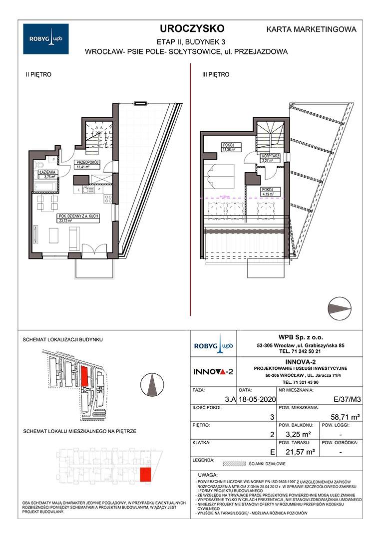 Uroczysko II / budynek 3 / klatka E / mieszkanie E/37/M3 rzut 1