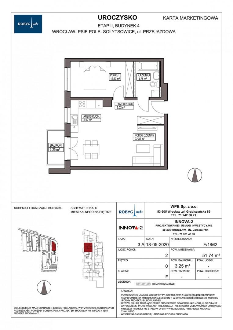 Uroczysko II / budynek 4 / klatka F / mieszkanie F/1/M2 rzut 1