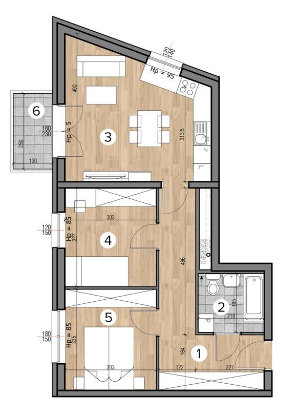 Uroczysko II / budynek 4 / klatka F / mieszkanie F/11/M3 rzut 1