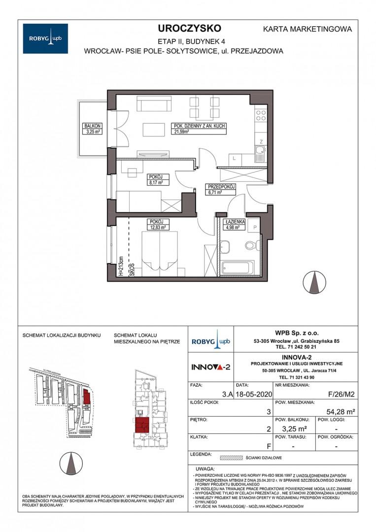 Uroczysko II / budynek 4 / klatka F / mieszkanie F/26/M3 rzut 1