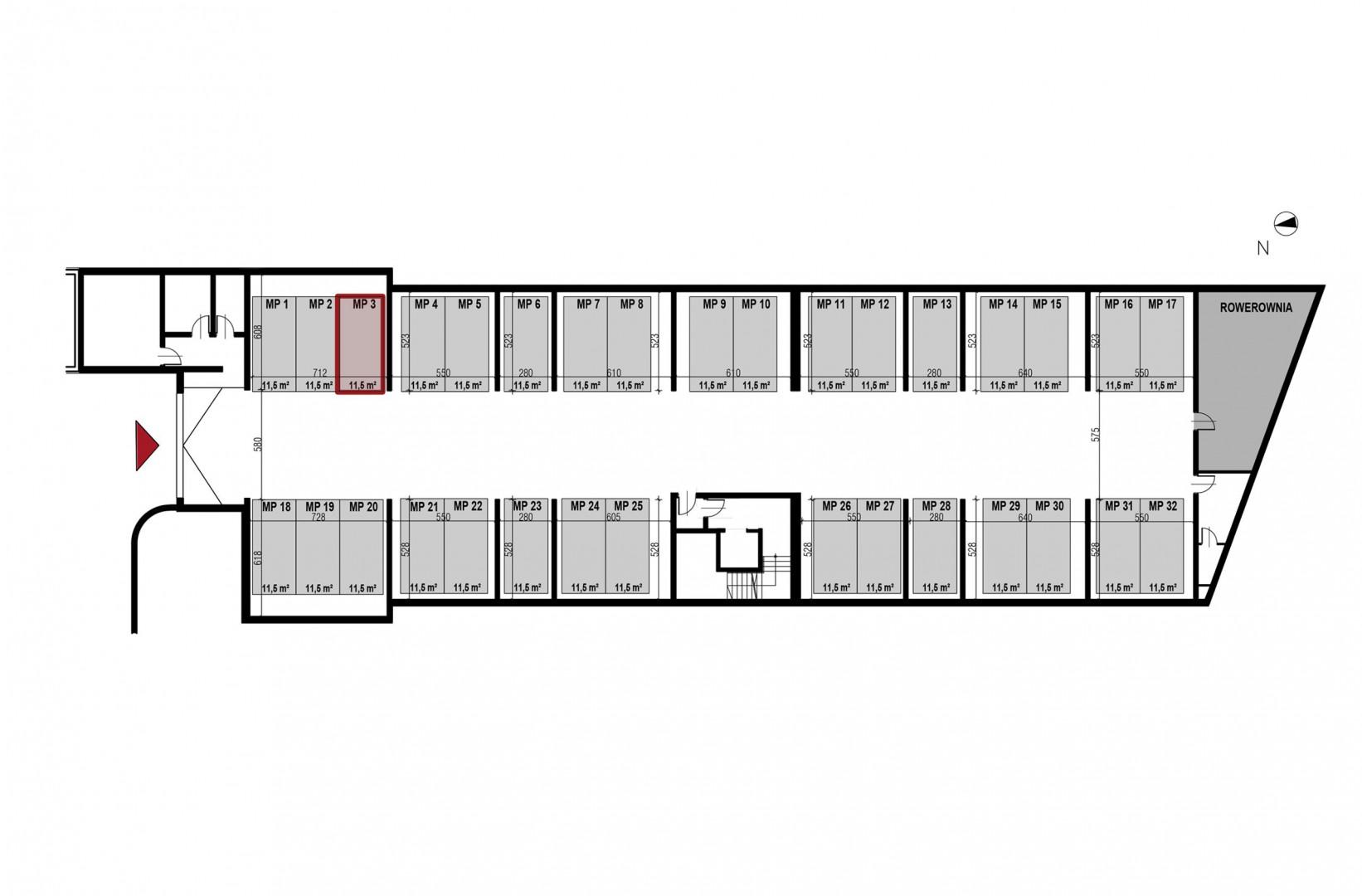Uroczysko II / budynek 3 / miejsce postojowe 3 rzut 1