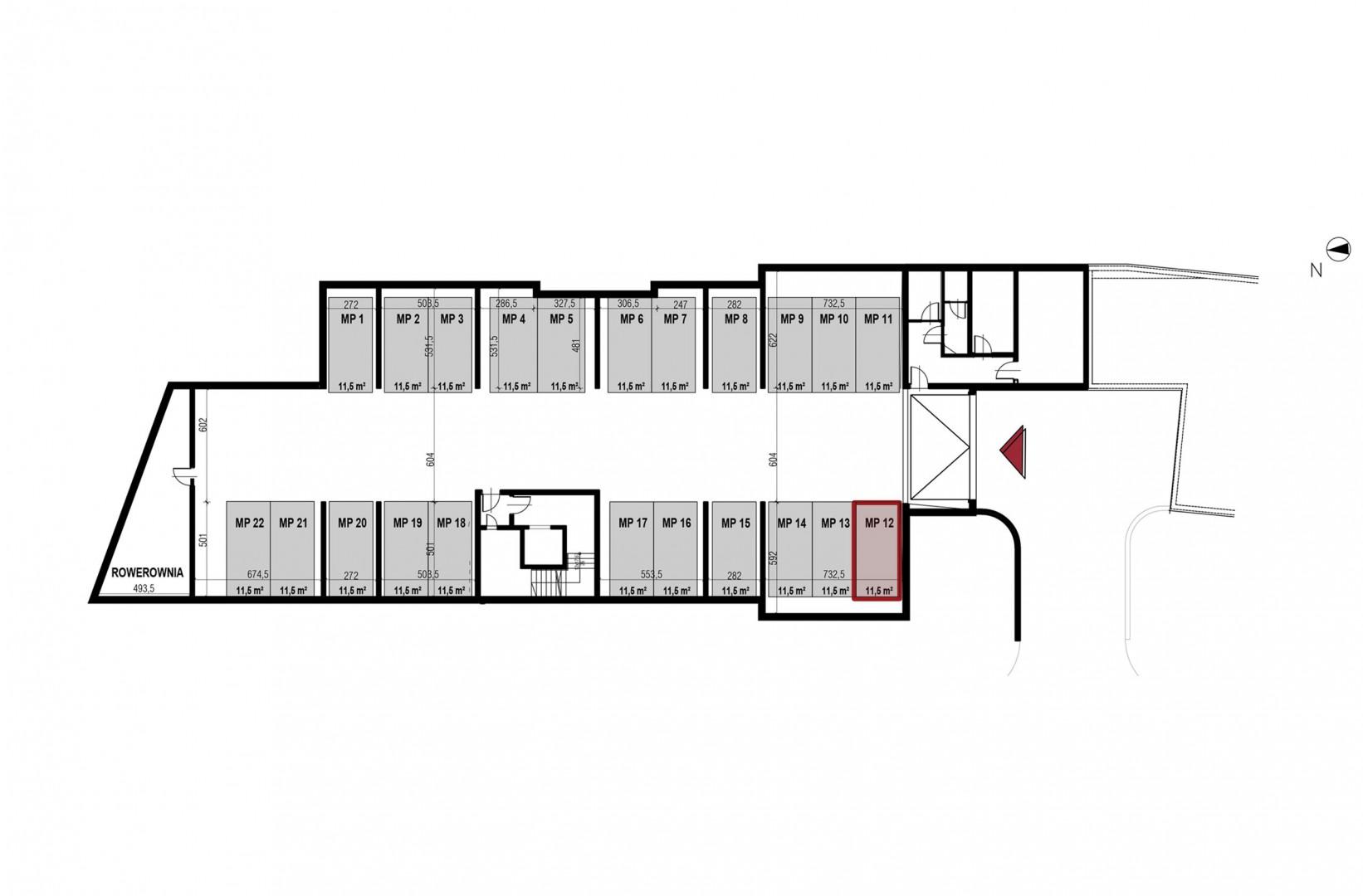 Uroczysko II / budynek 4 / miejsce postojowe 12 rzut 1