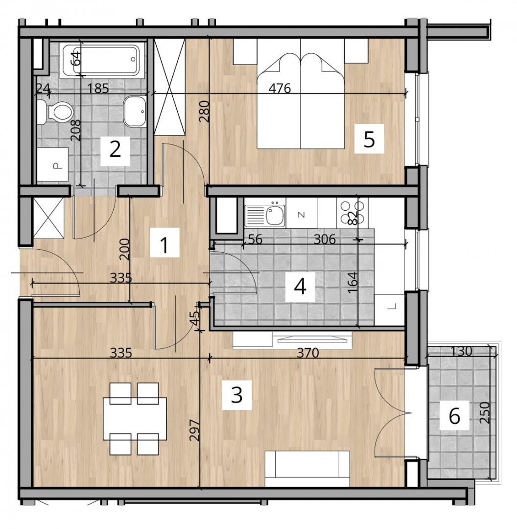 Uroczysko I / budynek 1 / klatka B / mieszkanie B/1/M2 rzut 1
