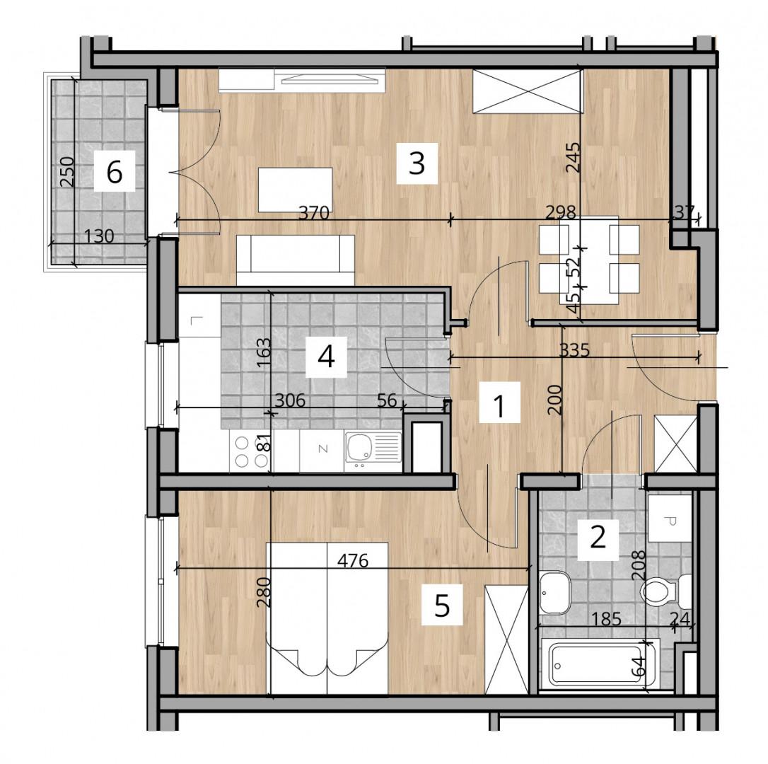 Uroczysko I / budynek 1 / klatka B / mieszkanie 4 rzut 1