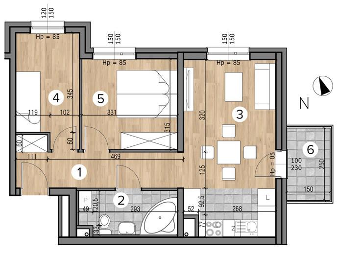 Willa nad Potokiem / budynek 1 / mieszkanie 5/M3 rzut 1