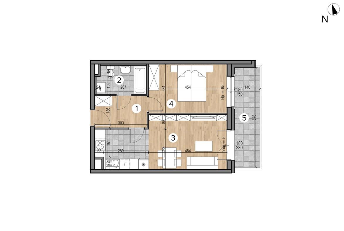 Wojszyckie Alejki / budynek 1 / mieszkanie 17/M2 rzut 1