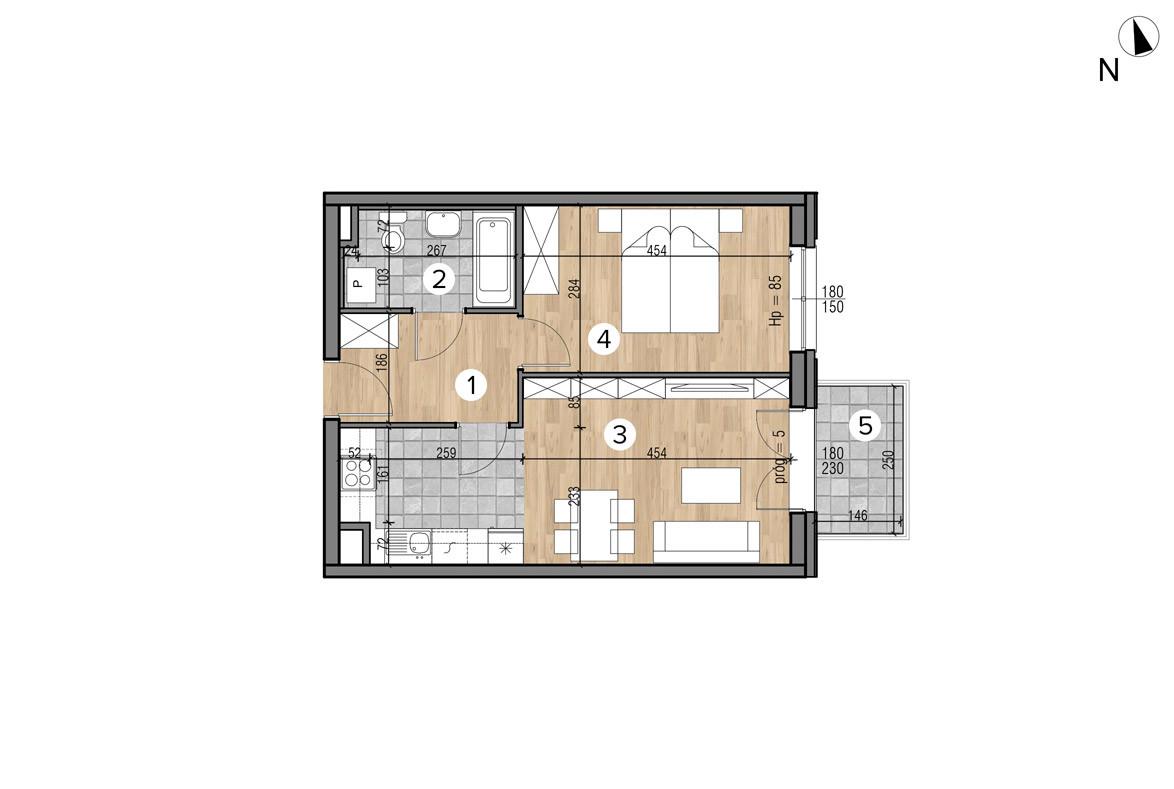 Wojszyckie Alejki / budynek 1 / mieszkanie 18/M2 rzut 1