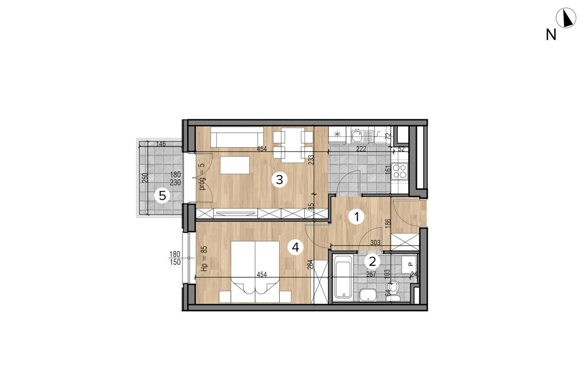 Wojszyckie Alejki / budynek 1 / mieszkanie 22/M2 rzut 1