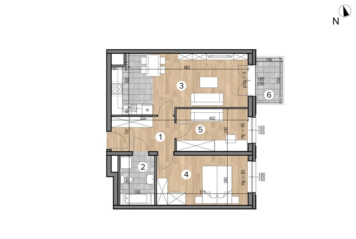 Wojszyckie Alejki / budynek 1 / mieszkanie 30/M3 rzut 1