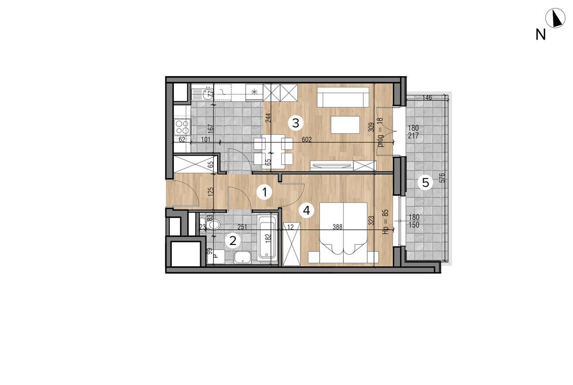 Wojszyckie Alejki / budynek 1 / mieszkanie 31/M2 rzut 1