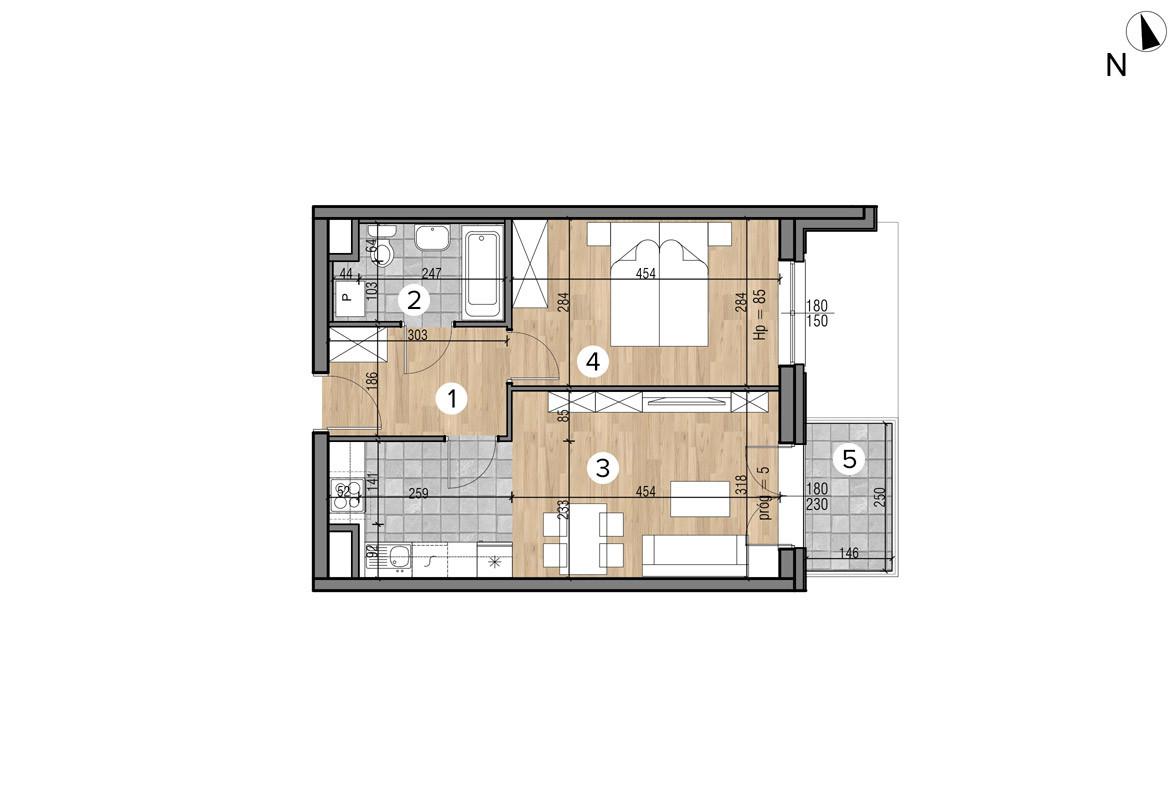 Wojszyckie Alejki / budynek 1 / mieszkanie 33/M2 rzut 1