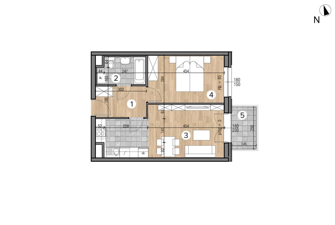Wojszyckie Alejki / budynek 1 / mieszkanie 34/M2 rzut 1