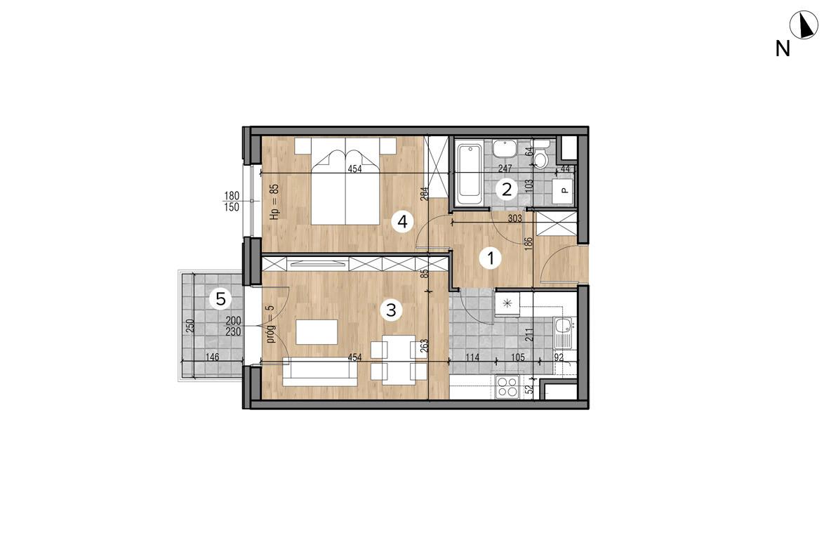 Wojszyckie Alejki / budynek 1 / mieszkanie 41/M2 rzut 1