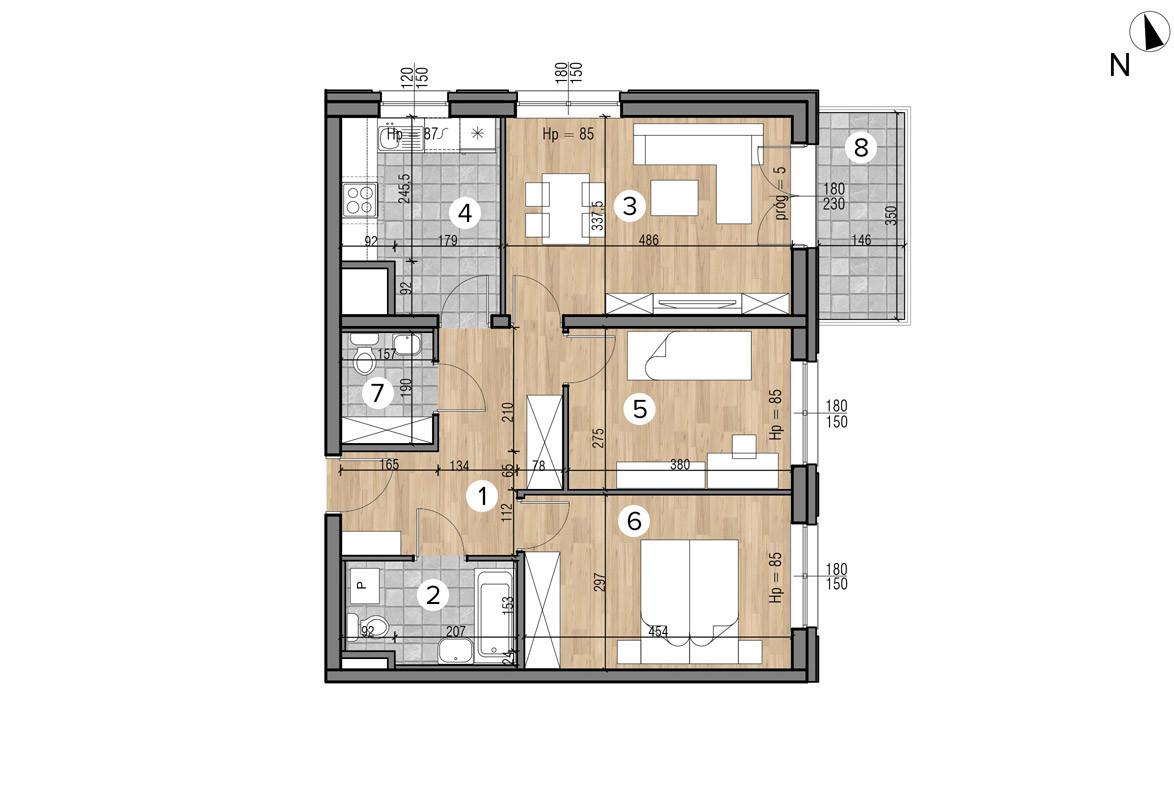 Wojszyckie Alejki / budynek 1 / mieszkanie 45/M3 rzut 1