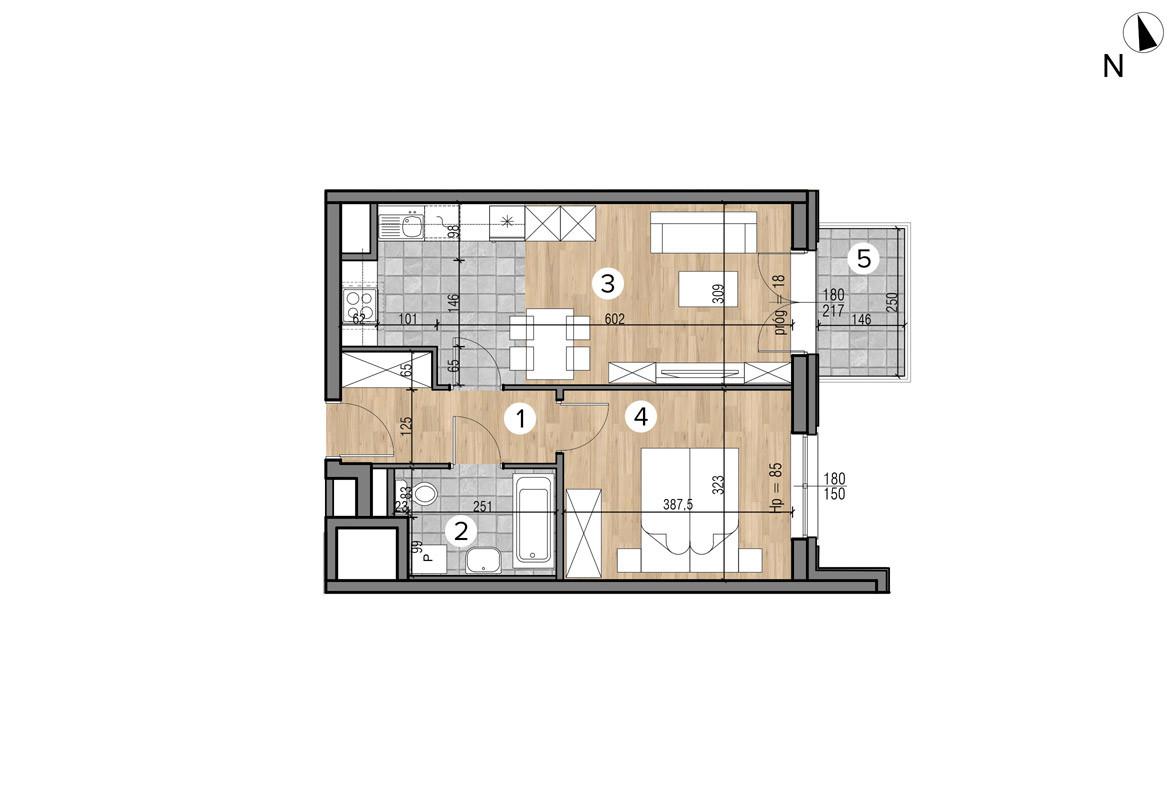 Wojszyckie Alejki / budynek 1 / mieszkanie 47/M2 rzut 1