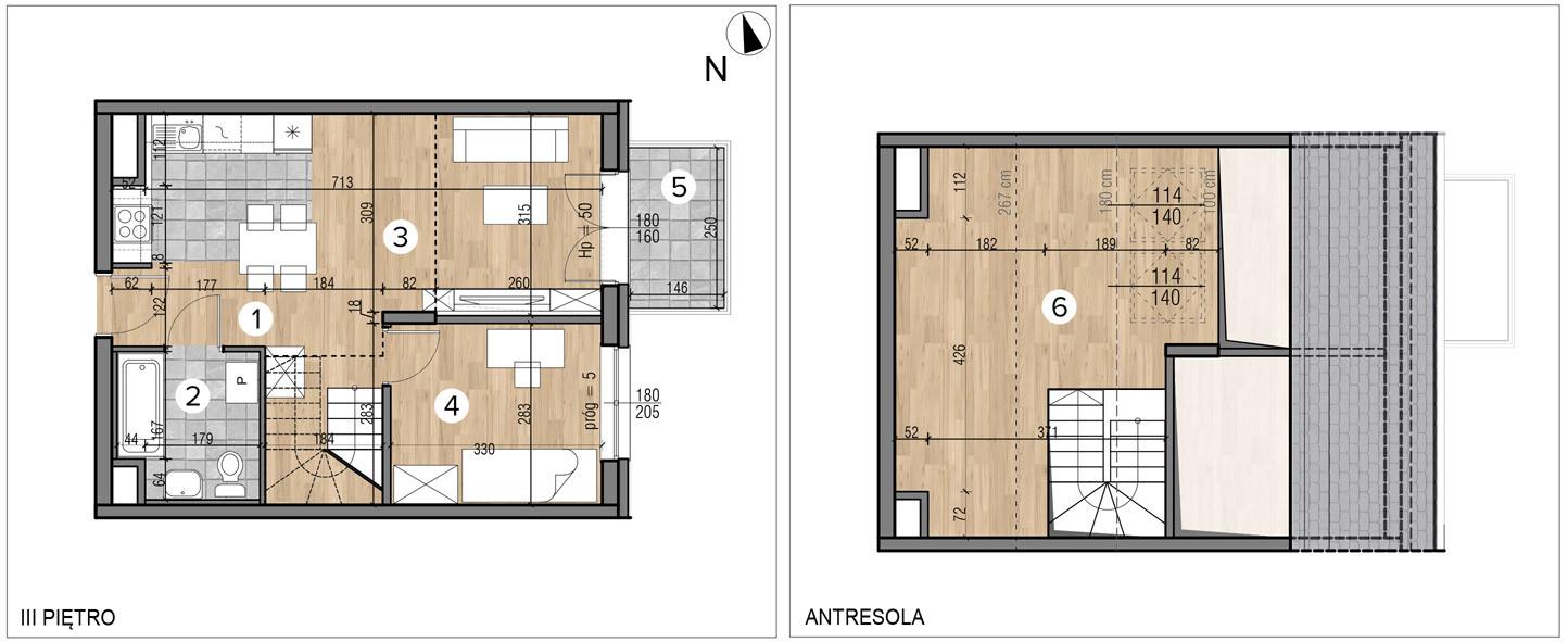 Wojszyckie Alejki / budynek 1 / mieszkanie 50/M2 rzut 1
