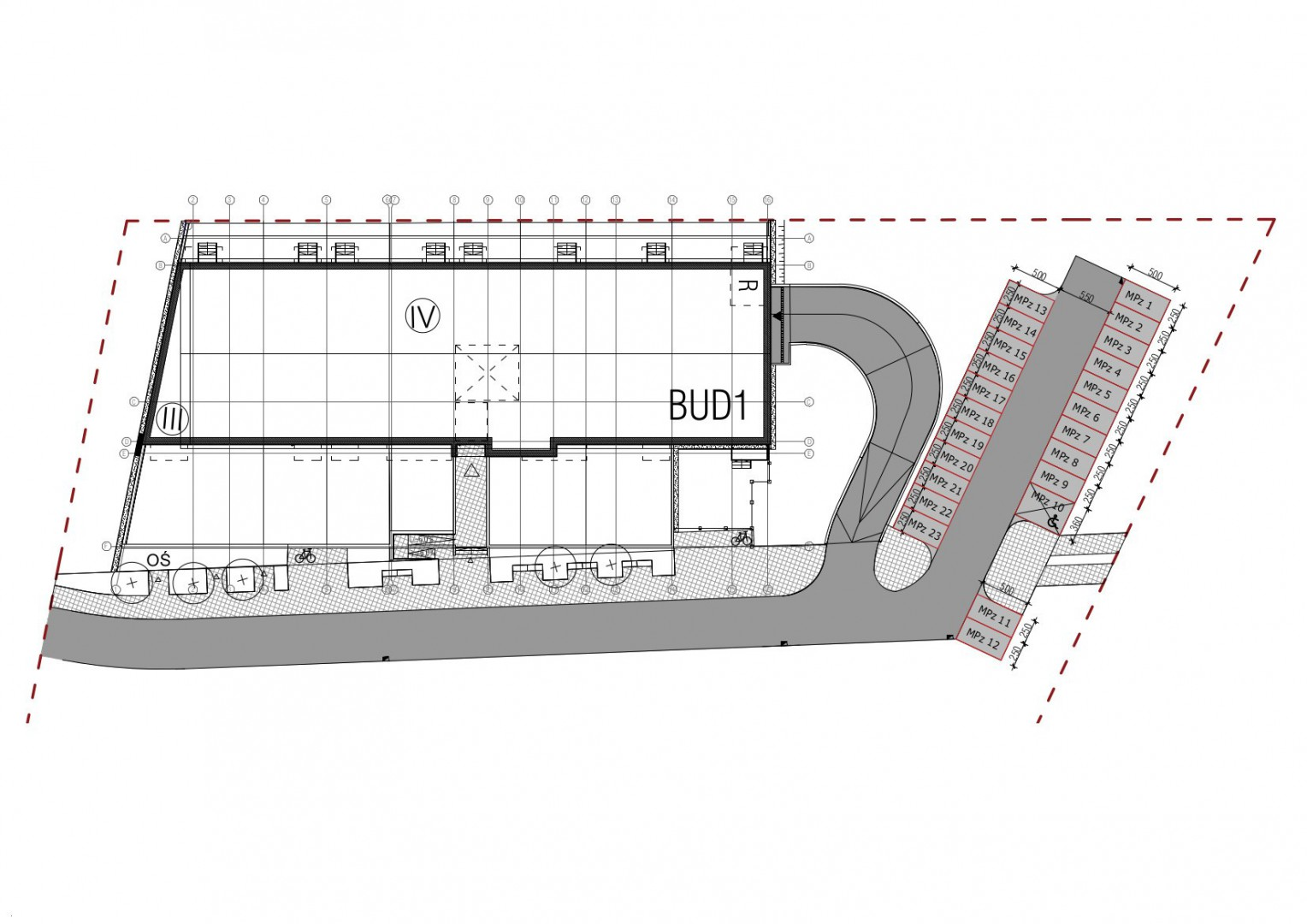 Wojszyckie Alejki / miejsce parkingowe zewnętrzne 17 rzut 1