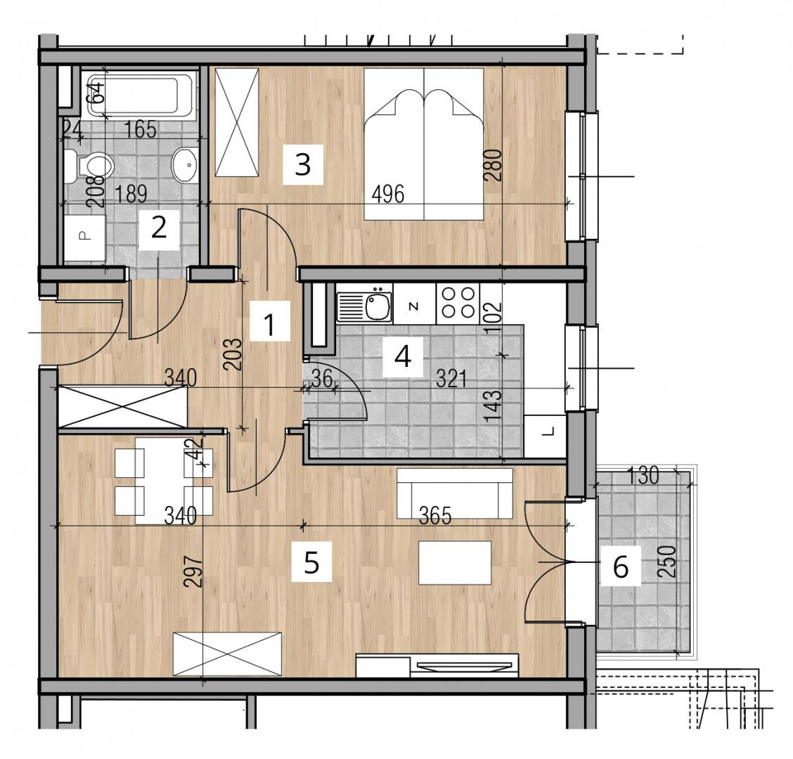 Uroczysko I / budynek 2 / klatka C / mieszkanie 1 rzut 1