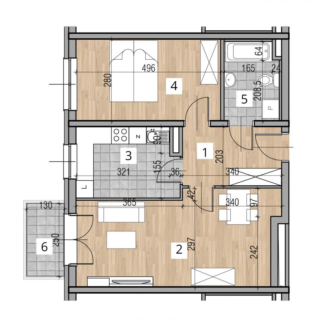 Uroczysko I / budynek 2 / klatka C / mieszkanie C/4/M2 rzut 1