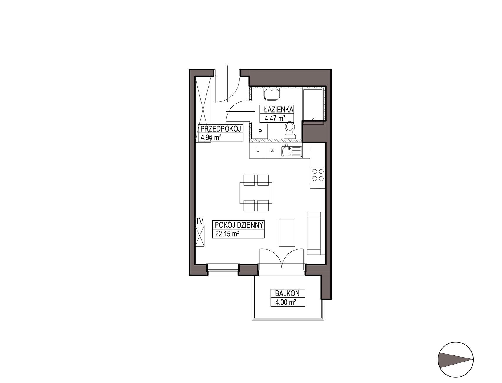 Uroczysko III / budynek 5 / mieszkanie G/0/14 rzut 1