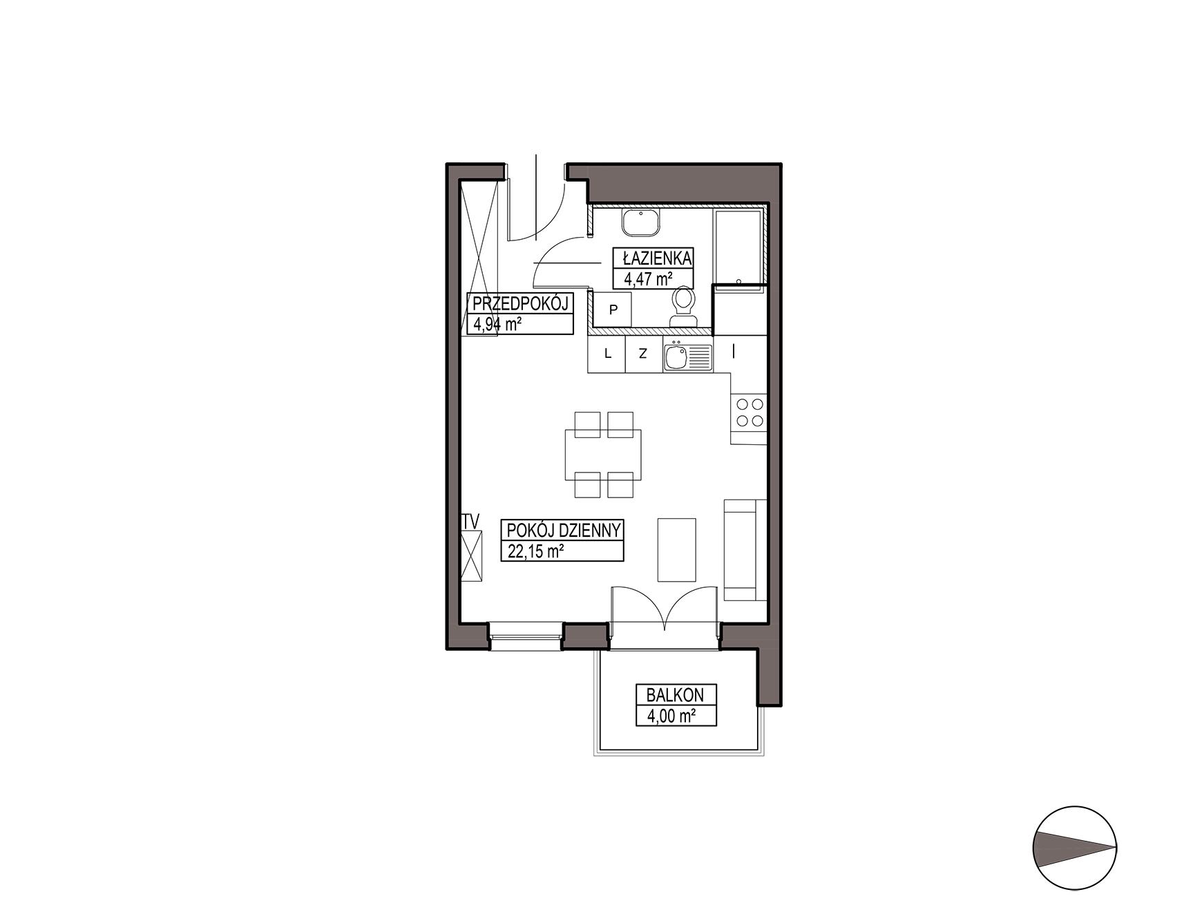 Uroczysko III / budynek 5 / mieszkanie G/2/44 rzut 1