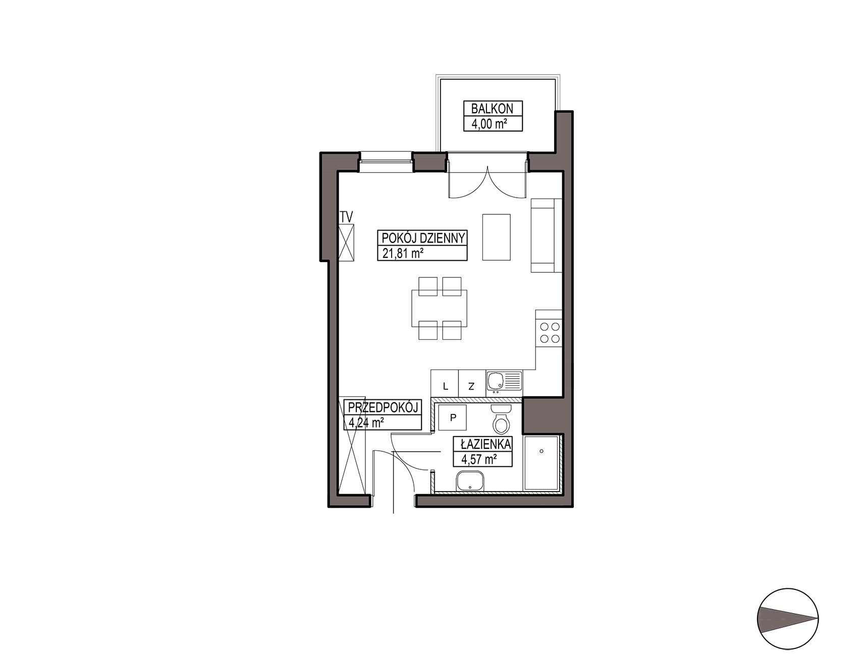 Uroczysko III / budynek 5 / mieszkanie G/3/52 rzut 1