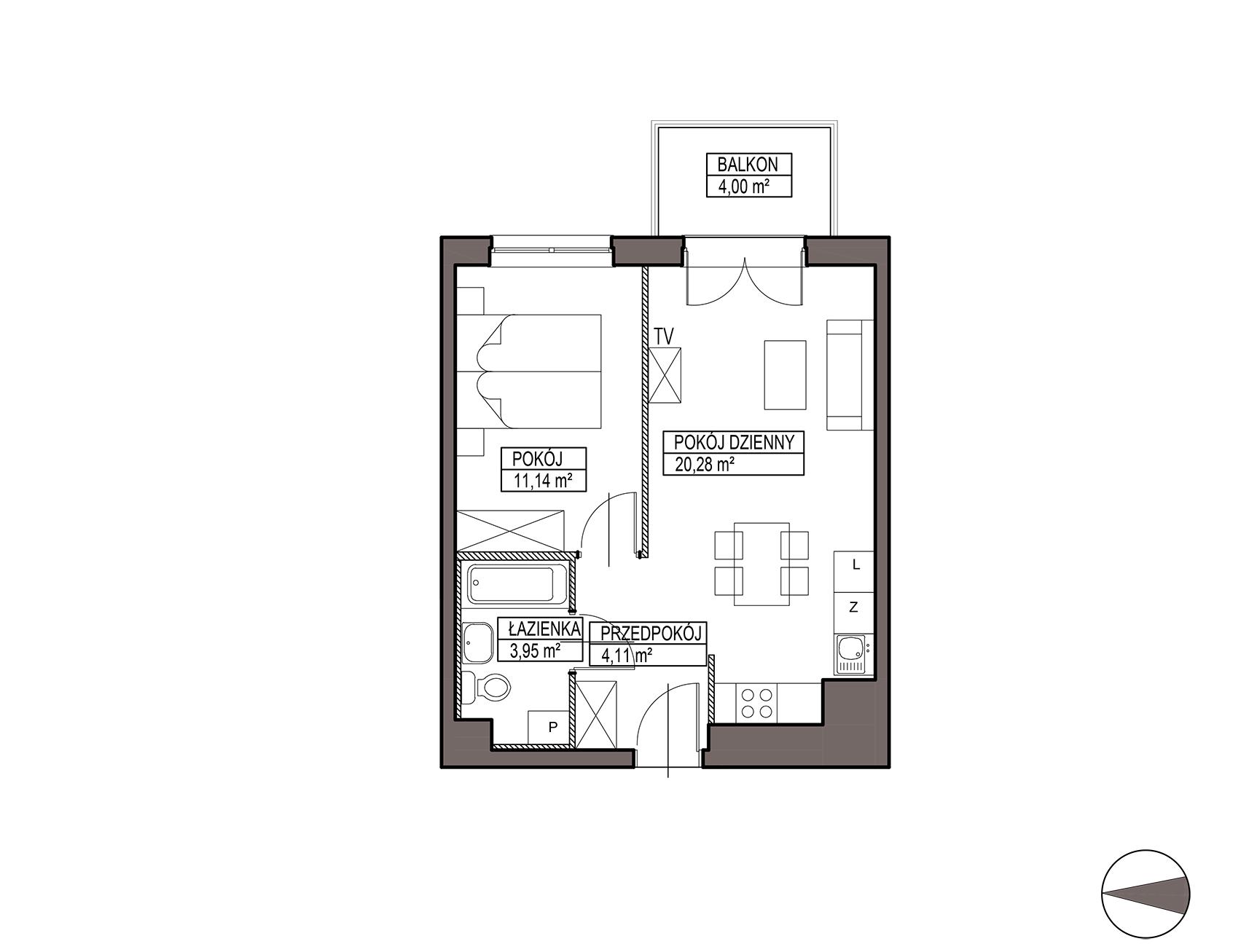 Uroczysko III / budynek 6 / mieszkanie H/2/23 rzut 1