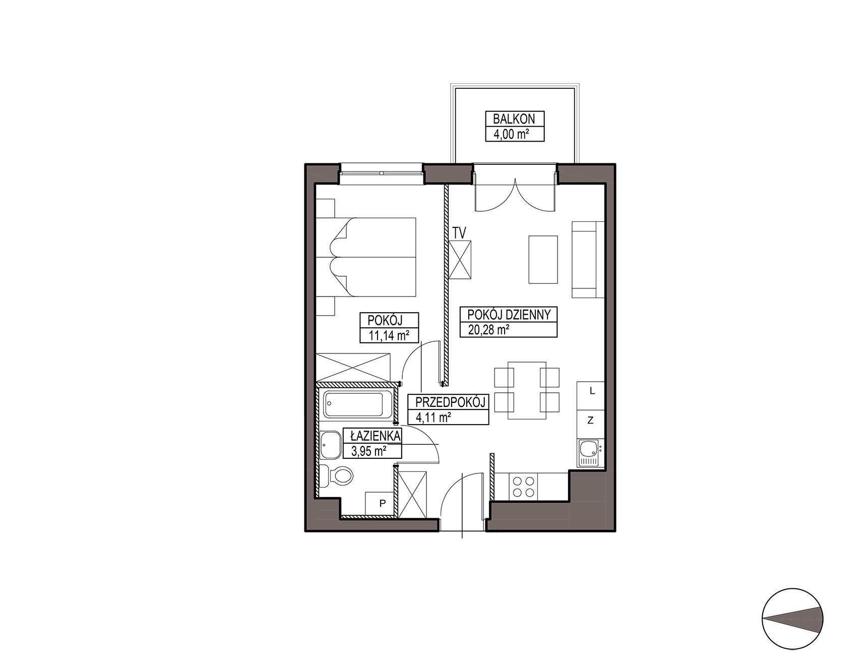 Uroczysko III / budynek 6 / mieszkanie H/3/32 rzut 1