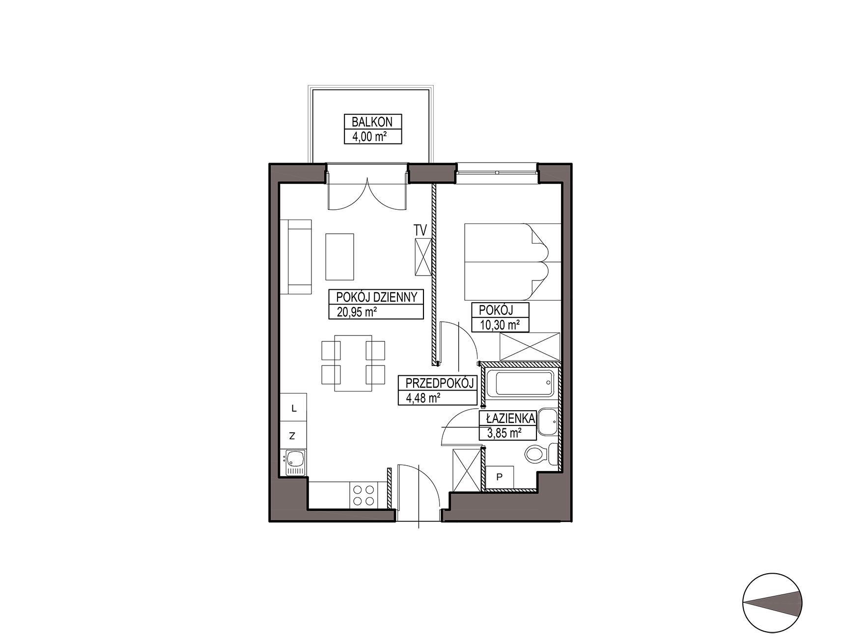 Uroczysko III / budynek 6 / mieszkanie H/3/33 rzut 1