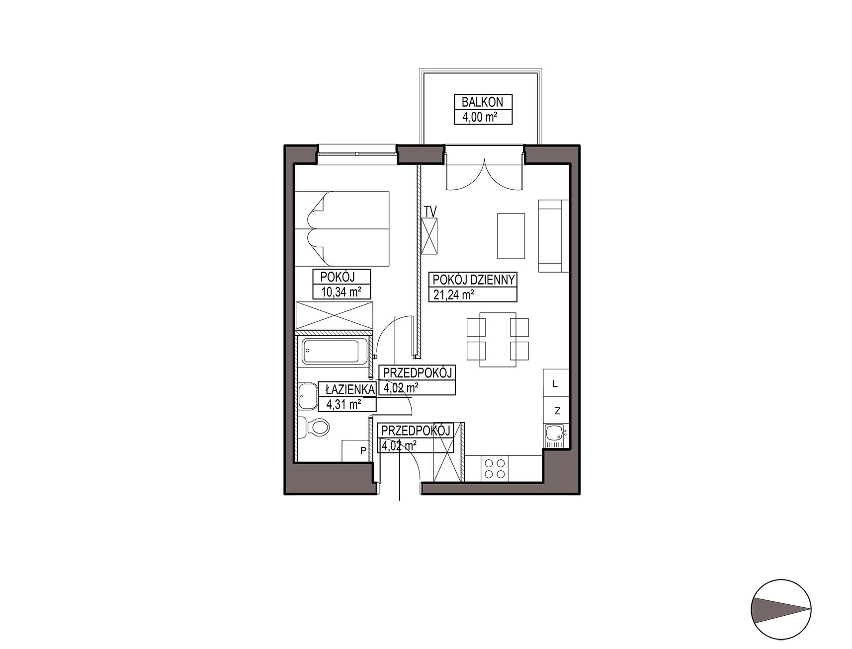 Uroczysko III / budynek 5 / mieszkanie G/2/36 rzut 1