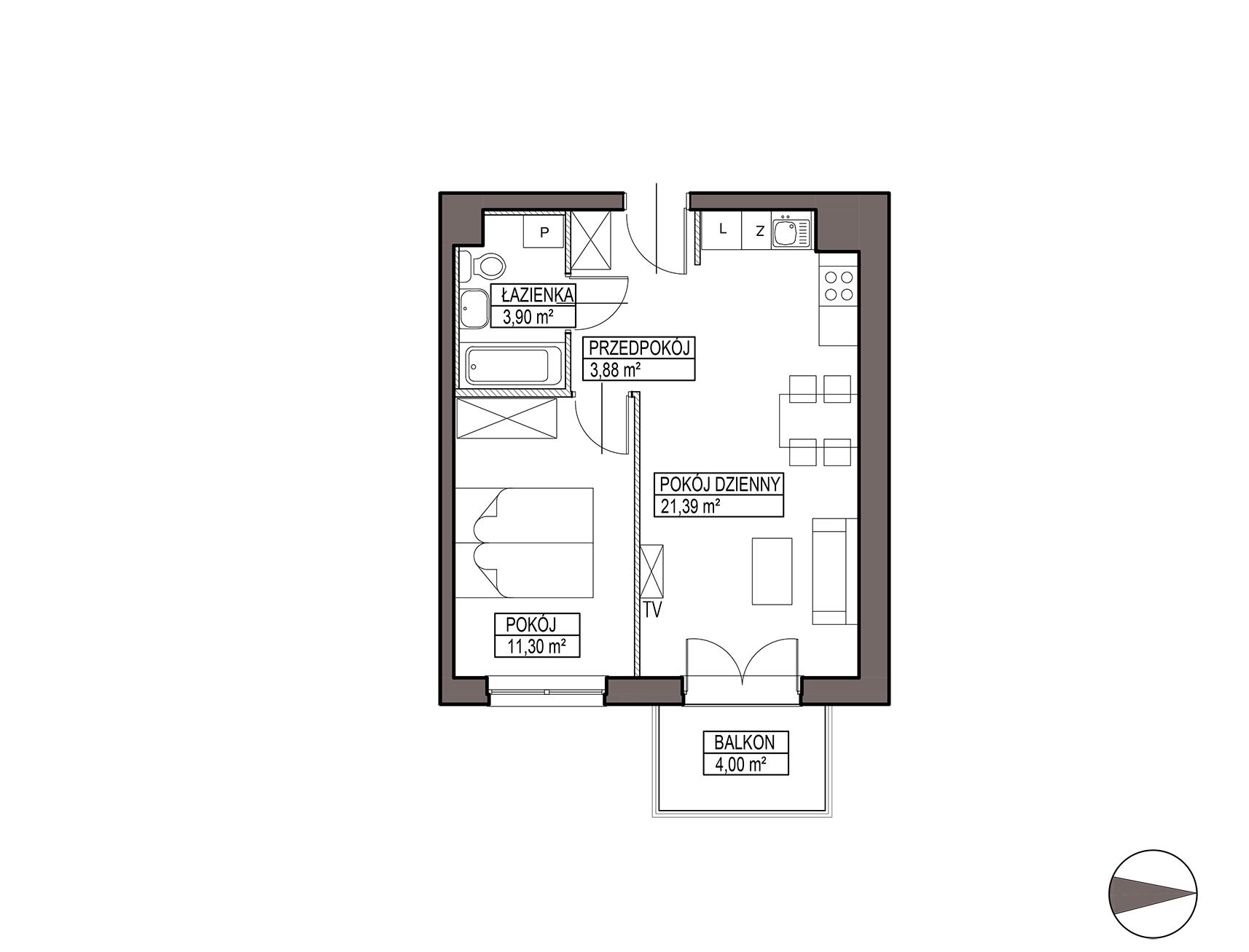 Uroczysko III / budynek 5 / mieszkanie G/1/16 rzut 1